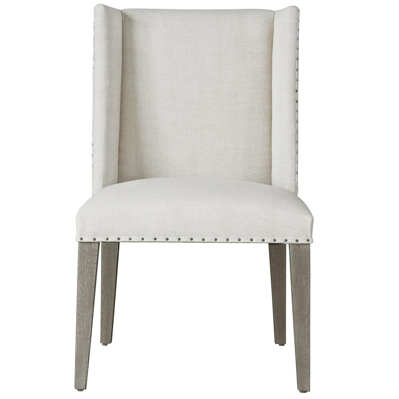 Tyndall belgian linen upholstered wing dining side chair for Upholstered linen dining chairs
