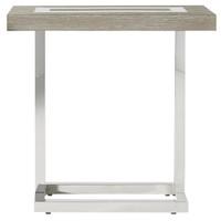 Wyatt Modern Oak Wood + Stainless Steel End Table