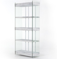 Soho Kenmare Modern Grey Wood and Glass Wide Bookshelf