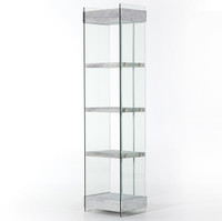 Soho KENMARE Modern Grey Wood and Glass Narrow Bookshelf