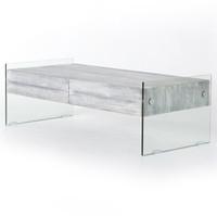 Soho HOUSTON Modern Grey Wood and Glass 2 Drawer Coffee Table
