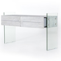 Soho HOUSTON Modern Grey Wood and Glass 2 Drawer Console Table