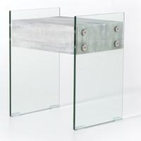 Soho HOUSTON Modern Grey Wood and Glass Leg Side Table