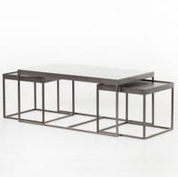 Evelyn Industrial Iron and White Marble Nesting Coffee Tables