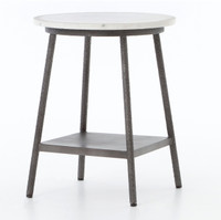 Lark Industrial Iron and White Marble Round Side Table