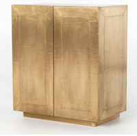 Freda Brass Clad Wrapped Industrial Bar Cabinet