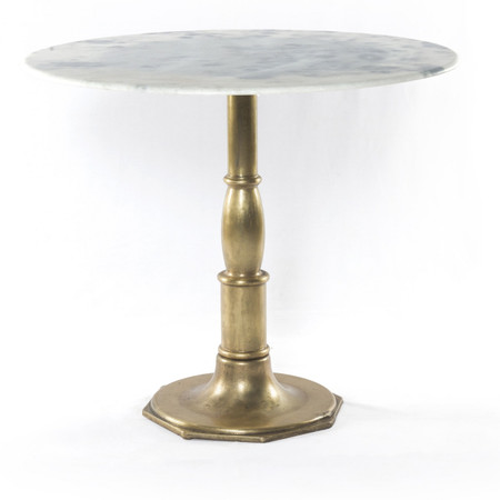 French Bistro White Marble Brass Pedestal Round Table 36