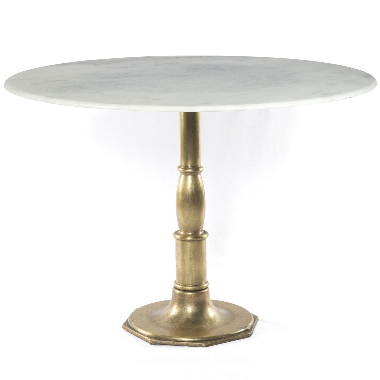 French Bistro White Marble Brass Pedestal Round Table 48 Zin Home