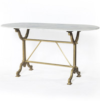 French Industrial White Marble Top Oval Writing Desk - Brass