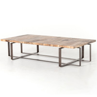 """Brant Spalted primavera Wood and Iron Leg Large Coffee Table 65"""""""