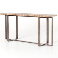 Brant Spalted Wood and Iron Leg Console Table 65""