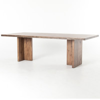 Cross Alder Wood Plank Top Trestle Dining Table 94""