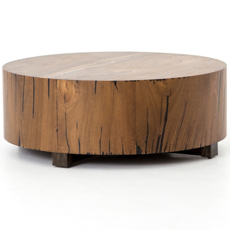 Hudson Round Natural Yukas Wood Block Coffee Table Zin Home