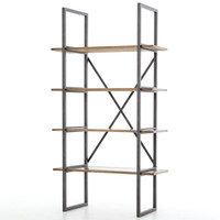 Shane Industrial Loft Antique Brass Clad Open Bookcase