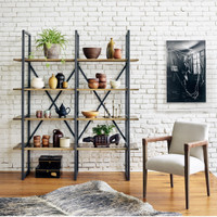 Shane Industrial Loft Antique Brass Clad Double Bookcase