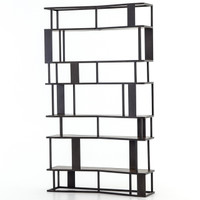 Louisa Industrial Loft Geometric Metal + Wooden Bookcase
