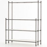 French Industrial Metal and White Marble Shelf Bookcase