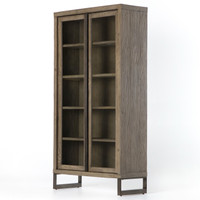 Harding Modern Glass Door Display Cabinet - Grey