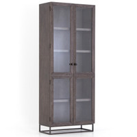 Garner Aged Oak Wood Glass Door Tall Display Cabinet