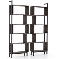 Martini Retro Industrial Iron + Oak Wood Geometric Bookshelf