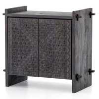 Mayan Old Wood Hand Carved 2 Door Small Sideboard, Dark Totem