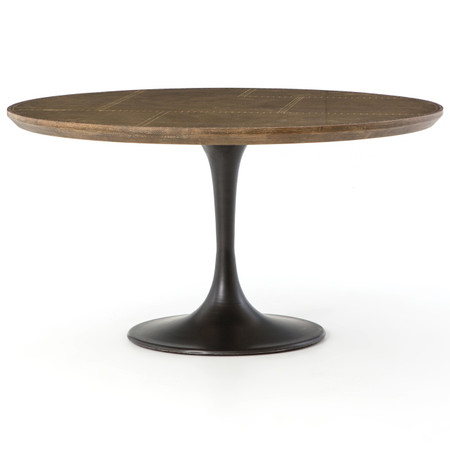 Aero Tulip Industrial Brass Clad Top Round Dining Table 55