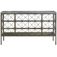 Sojourn French Industrial Bluestone Top Metal Console Table