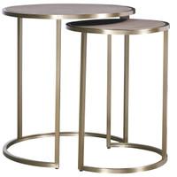 Portobello Modern Shagreen Brass Round Nesting Tables