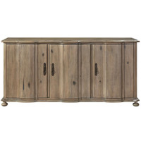 French Country Scalloped 3 Door Credenza Sideboard