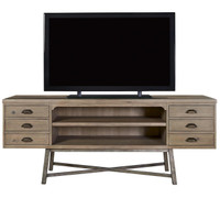 French Printer's Wood and Iron Entertainment Media Console