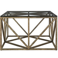 French Industrial Bronze Metal & Glass Top Square Coffee Table