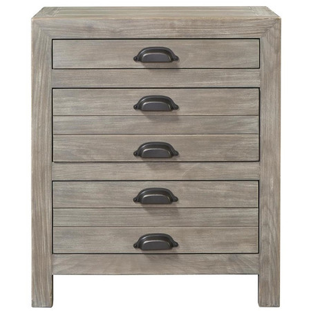 French Printermakers Rustic Gray Wood 3 Drawers Nightstand