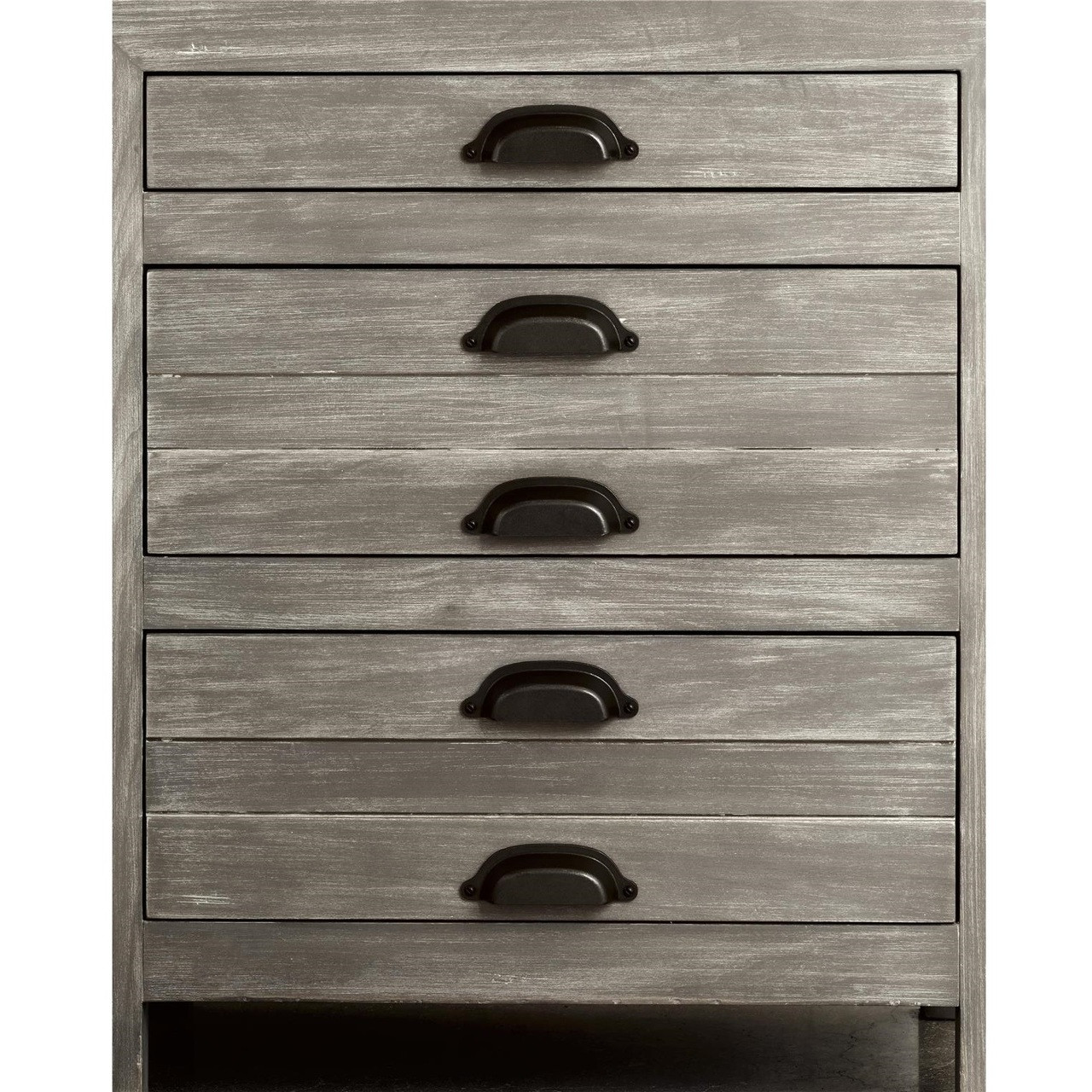 French Printermakers Rustic Gray Wood 3-Drawers Nightstand