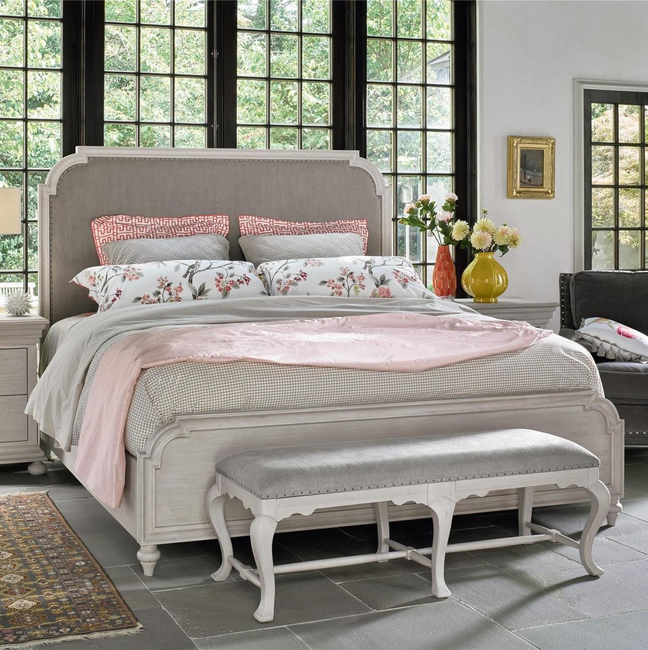 Belgian Cottage Carved Upholstered Bed End Bench Zin Home