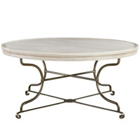 "Belgian Cottage Round Coffee Table 44"" - Antiqued White"