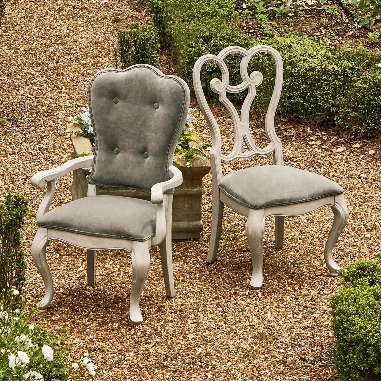 Belgian Cottage Gray Velvet Upholstered Cabriole Arm Chair
