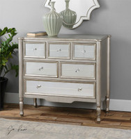 Rayvon Antiqued Silver Mirrored Accent Chest