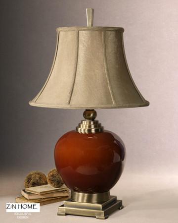 Daviel Red Ceramic Table Lamp Zin Home