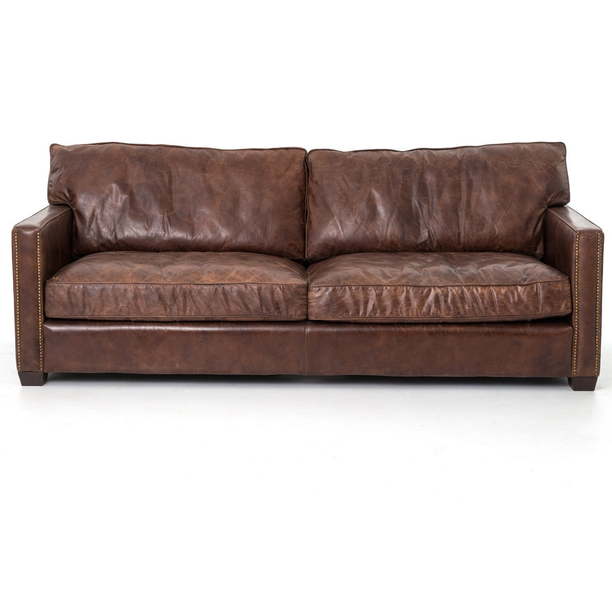 Vintage Upholstered Leather Sofa: Larkin 3 Seater Vintage Cigar Contemporary Leather Sofa