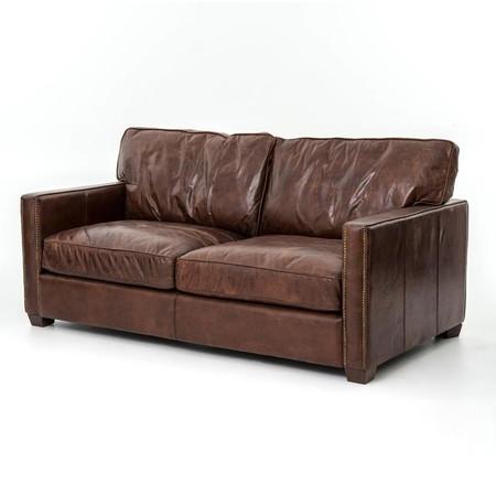 pics of distressed leather sofa | Larkin 2 Seater Vintage Cigar Distressed Leather Sofa ...
