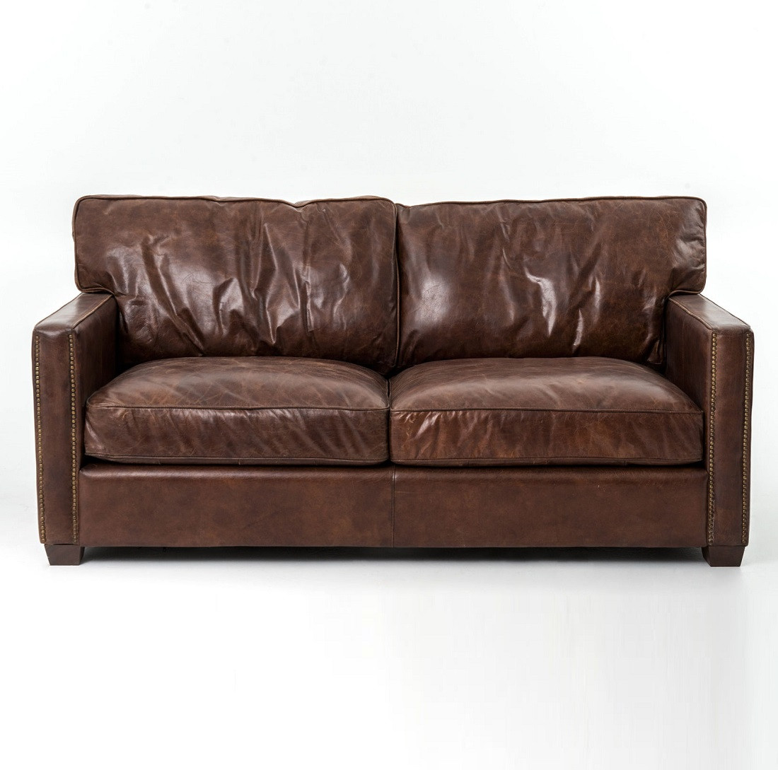 Larkin 2 seater vintage cigar distressed leather sofa for 2 seater leather sofa