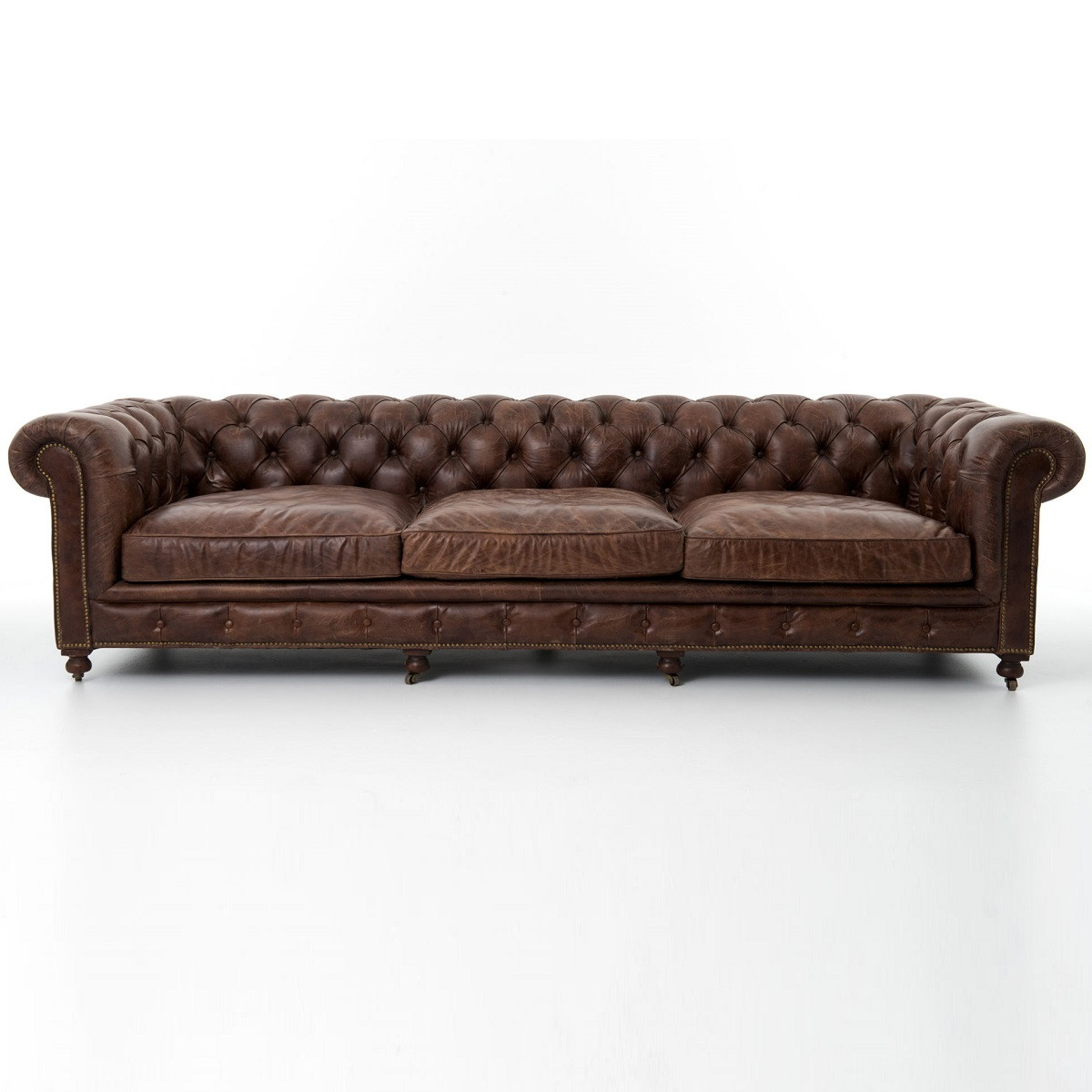 "Vintage Black Leather Chesterfield Sofa: Conrad 118"" Vintage Cigar Leather Chesterfield Sofa"