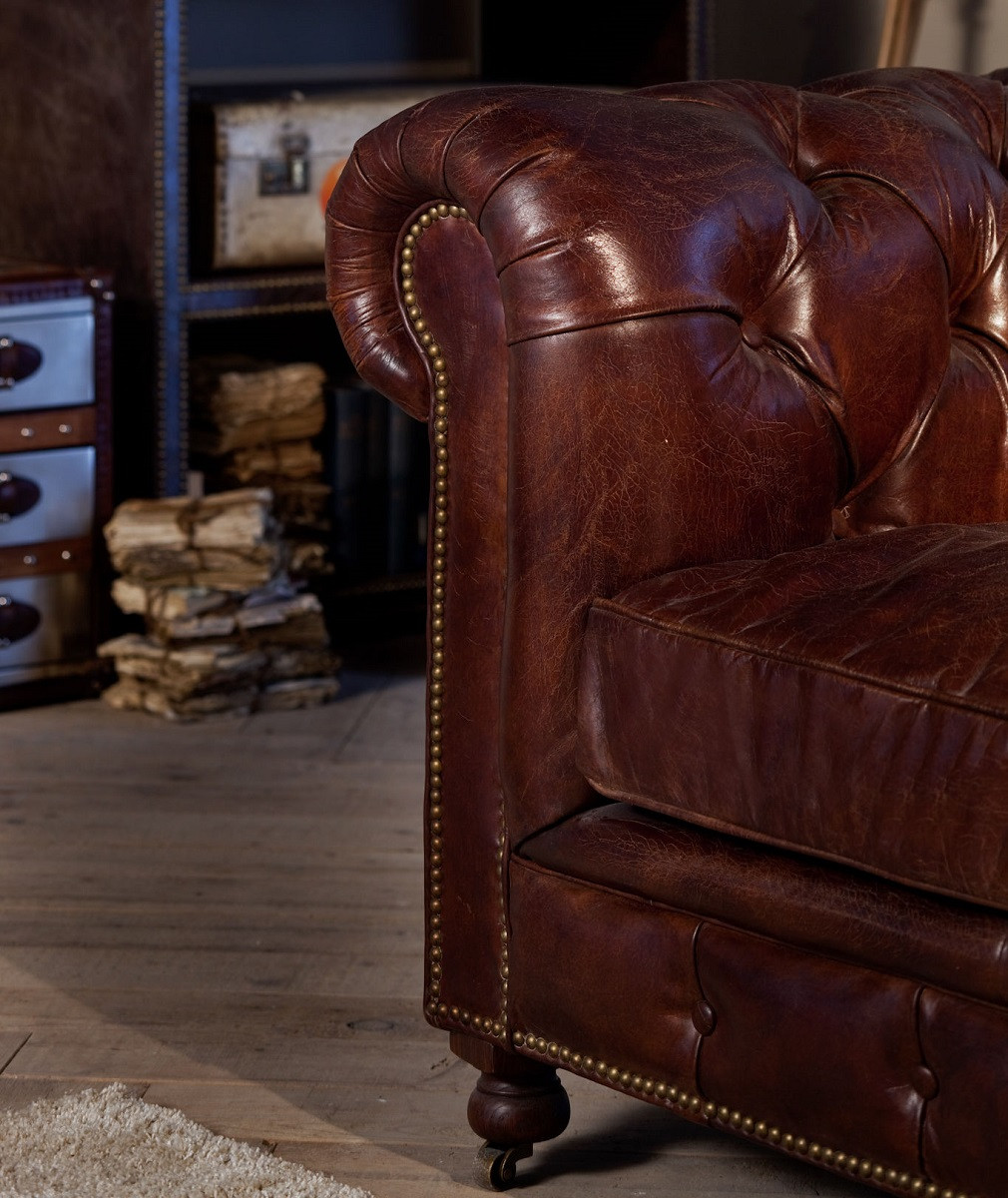 Conrad 118 Quot Vintage Cigar Leather Chesterfield Sofa Zin Home