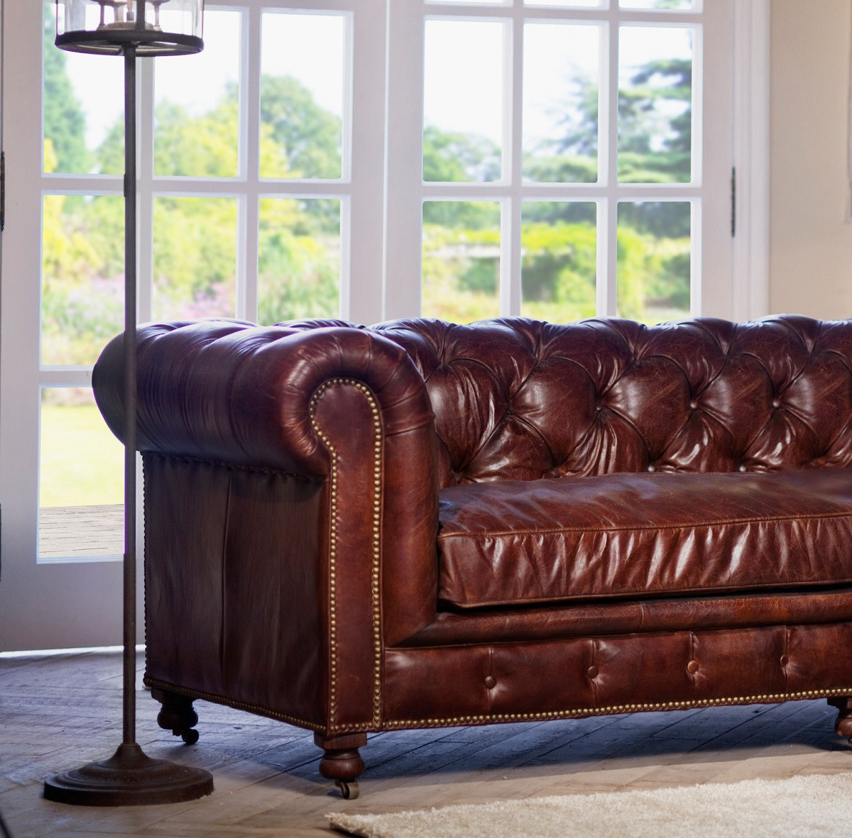 Conrad 96 Quot Vintage Cigar Leather Chesterfield Sofa Zin Home