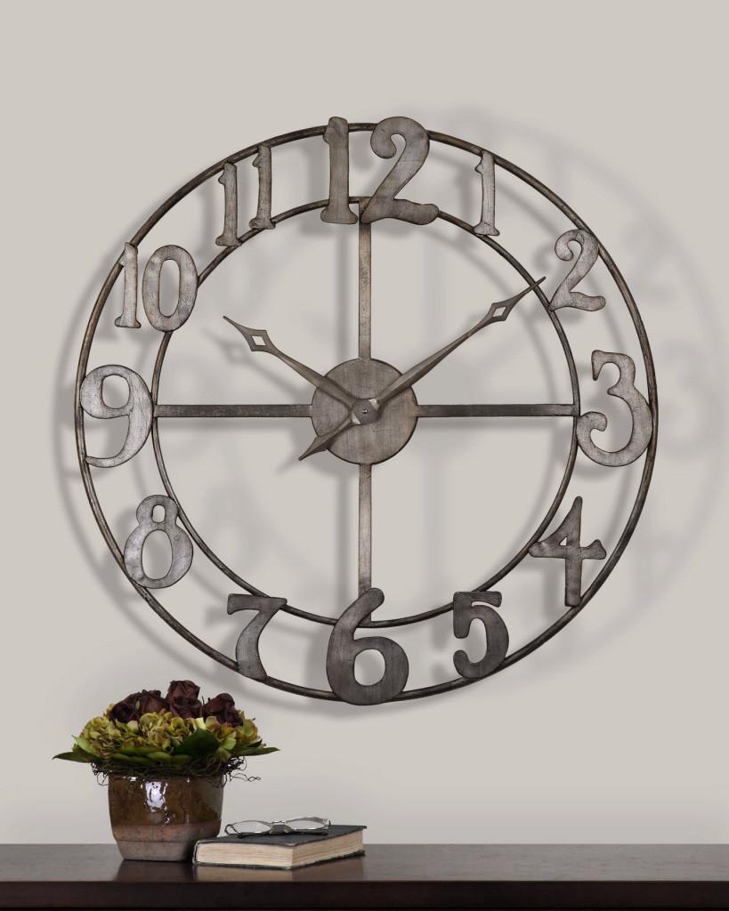 delavan large metal wall clock zin home. Black Bedroom Furniture Sets. Home Design Ideas