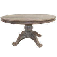 Hampton Rustic Wood round pedestal dining table