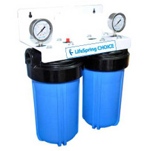 LifeSpring CHOICE whole house filter system with pressure gauges