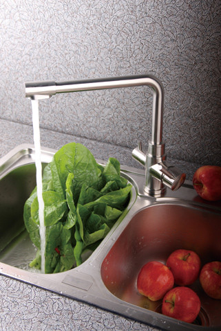Swan neck - Sink faucet with integrated purified water tap - Stainless & leadfree
