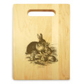 Rabbit Family 9x12 Engraved Chopping Board Handle Maple Wood