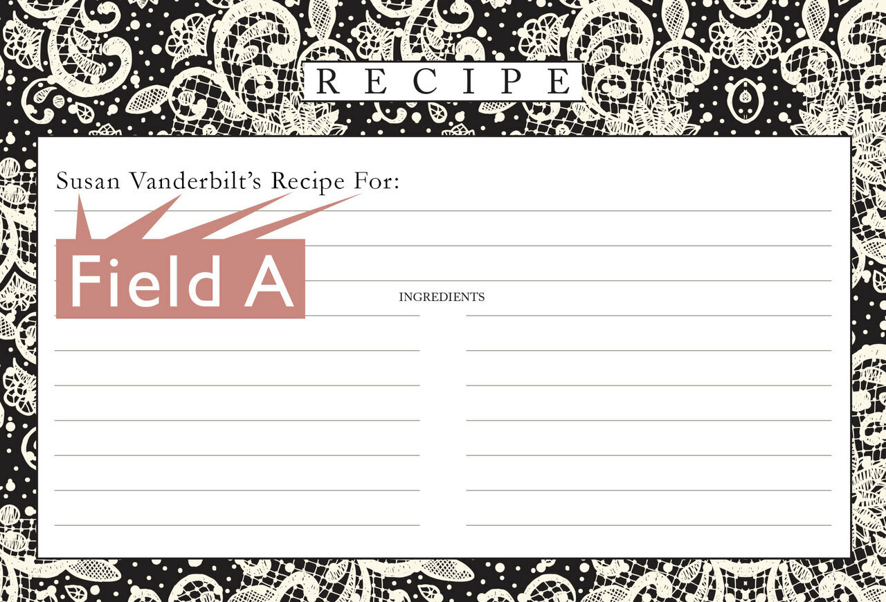 Personalized  4x6 Recipe Card Lace Settings Ebony Black 40ea